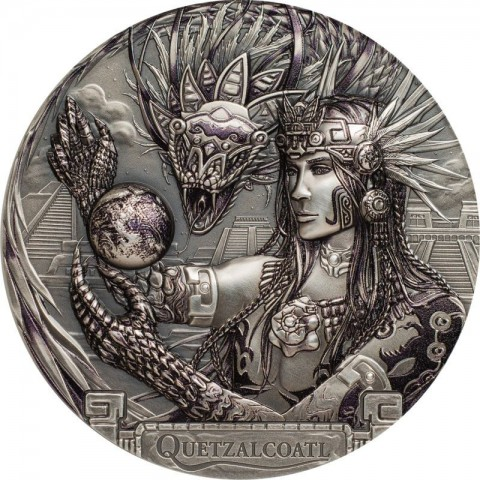 QUETZALCOATL AZTEC FEATHERED SERPENT GODS OF THE WORLD 20 DOLLARS 3 OZ COOK ISLANDS 2017