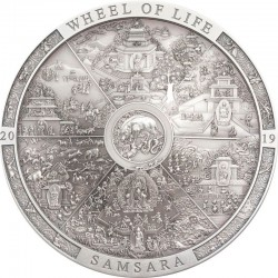 SAMSARA WHEEL OF LIFE ARCHEOLOGY & SYMBOLISM 20 DOLLARS 3 OZ COOK ISLANDS 2019