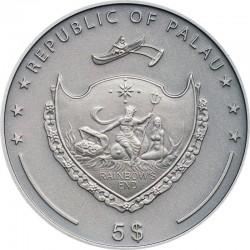 GREY WOLF SILVER COIN 5 DOLLARS 1 OZ PALAU 2020