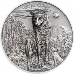 GREY WOLF SILVER COIN 5 DOLLARS 1 OZ PALAU 2020