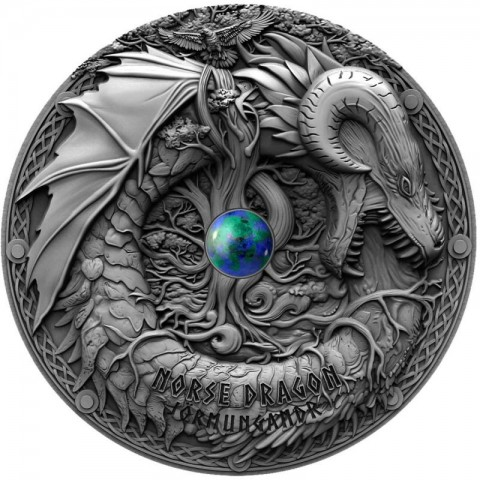 NORSE DRAGON DRAGONS SILVER COIN 2 DOLLARS 2 OZ NIUE 2019