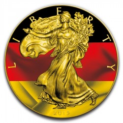 2019 1Oz American Silver Eagle German Flag Gilded