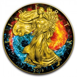 2019 1oz American Silver Eagle Yin Yang Gilded Colorized Coin