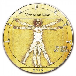 2019 1oz American Silver Eagle Da Vinci Vitruvian Man Colorized Coin