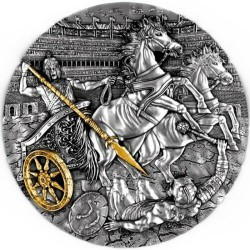 The Chariot Rydwan Niue 2019 2 Oz silver coin 24 karat gold plated
