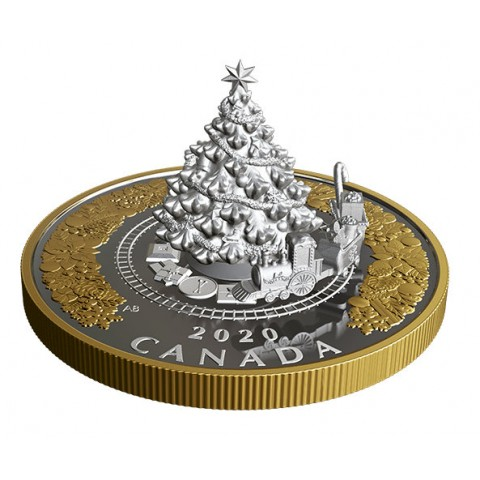Christmas Train Tree Canada 5 Oz 50 Dollars silver coin
