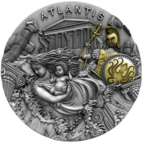 ATLANTIS LEGENDARY LANDS 5 DOLLARS 2 OZ SILVER COIN 2019 NIUE