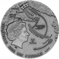 THE BATTLE OF SALAMIS SEA BATTLES 5 DOLLARS 2 OZ SILVER COIN 2019 NIUE
