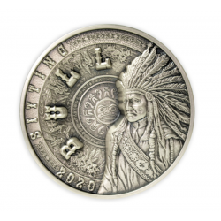 SITTING BULL MULTILAYER SERIES 25 DOLLARS 1 KG SILVER COIN SAMOA 2020