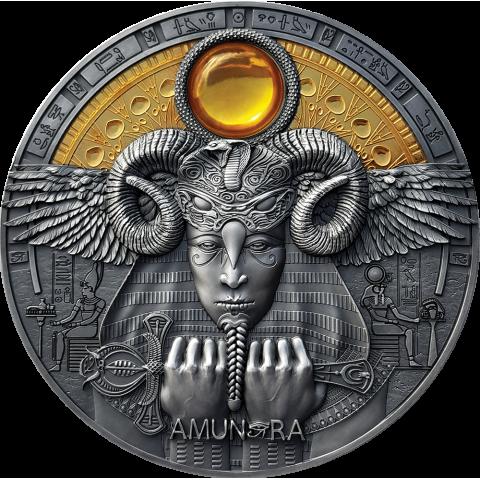 AMUN RA DIVINE FACES OF THE SUN 3 OZ NIUE 2020 5 DOLLARS