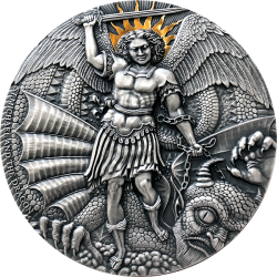 ST. MICHAEL AND THE DRAGON CAMEROON 2020 2 OZ 2000 FRANCS SILVER COIN
