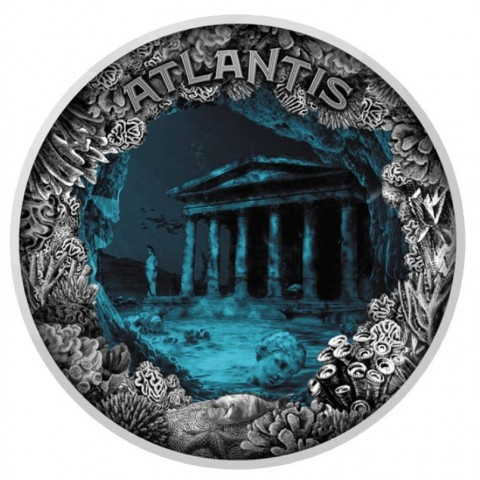 ATLANTIS SUNKEN CITY DOOM 5 DOLLARS NIUE 2019 2 OZ SILVER COIN