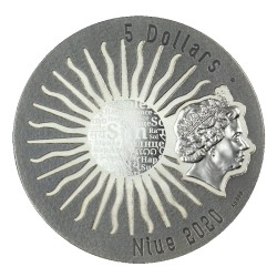 TONATIUH SUN GODS 5 DOLLARS 2 OZ NIUE ISLAND 2020