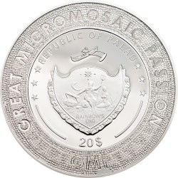 GREAT MICROMOSAIC PASSION - LADY WITH AN ERMINE PALAU 2020 3 OZ 20 DOLLARS