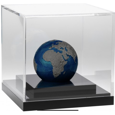 BLUE MARBLE AT NIGHT PLANET EARTH 3 OZ 5 DOLLARS BARBADOS 2021