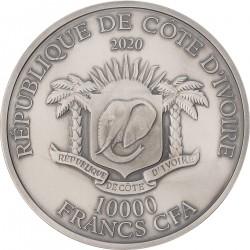 PANDA P.DE GREEF 2,75 CM HIGH RELIEF 1 KG IVORY COAST 2020 10.000 FRANCS