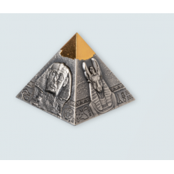 SIGHTS OF THE ANCIENT EGYPT 3D PYRAMID OF KHAFRE 5 OZ SILVER COIN 250 FRANCS DJIBOUTI 2021