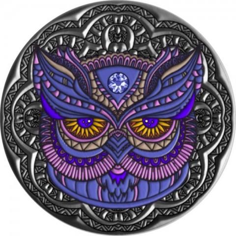 OWL MANDALA COLLECTION 2 OZ SILVER COIN 5 DOLLARS NIUE 2020