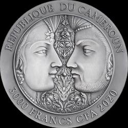 KAMASUTRA II MOMENTS OF LOVE 3 OZ SREBRNA MONETA 3000 FRANKÓW CFA KAMERUN 2020