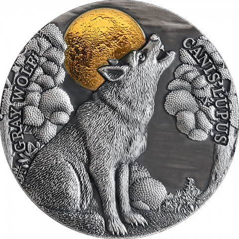 GRAY WOLF WILDLIFE IN THE MOONLIGHT 2 OZ SILVER COIN 5 DOLLARS NIUE 2020