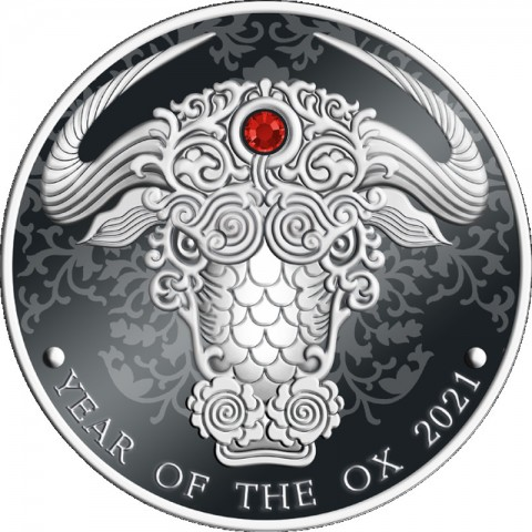 YEAR OF THE OX LUNAR YEAR 0.5 OZ SILVER COIN 2 CEDIS REPUBLIC OF GHANA 2021