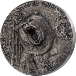PREDATORS - GRIZZLY 3 OZ DE GREEF 5000 FRANCS IVORY COAST 2020 SILVER COIN