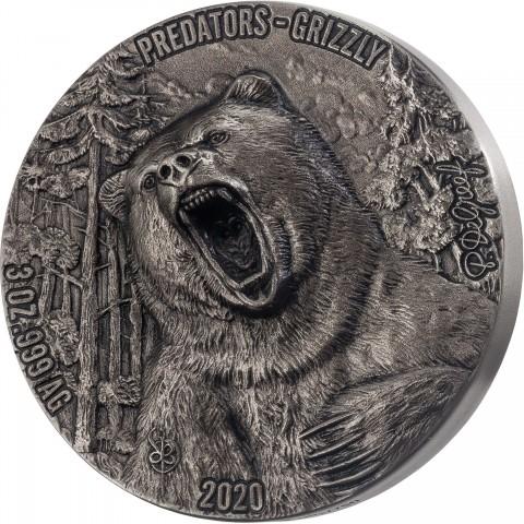 PREDATORS - GRIZZLY 3 OZ DE GREEF 5000 FRANCS IVORY COAST 2020 SILVER COIN