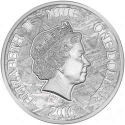 MOUNIONALUSTA METEORITE 1 DOLLAR 1 OZ NIUE ISLAND 2016